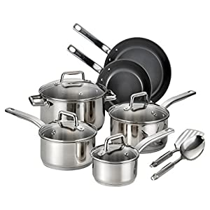 T-fal C718SC Precision Stainless Steel Nonstick Ceramic Coating PTFE PFOA and Cadmium Free Scratch Resistant Dishwasher Safe Oven Safe Cookware Set, 12-Piece, Silver