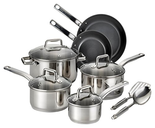 T-fal C718SC Precision Stainless Steel Nonstick Ceramic Coating PTFE PFOA and Cadmium Free Scratch Resistant Dishwasher Safe Oven Safe Cookware Set, 12-Piece, - Stainless Ceramic