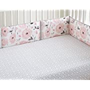 Levtex Baby Elise Grey and Pink Floral 4 Piece Crib Bumper Set