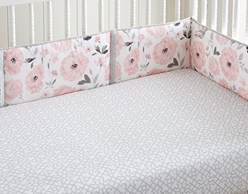 - Levtex Baby Elise Grey and Pink Floral 4 Piece Crib Bumper Set
