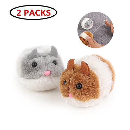 Fur Teaser Cat Toy (Cat Toys Mice, Ji Speed Interactive Toys Cat Teaser Faux Fur Mouse Catching Toys For Kittens, 2 Packs(grey&brown Mouse)/ 10 Packs(Mouse in Cage Ball at Random Color) (Grey&Brown Chasing Mouse 2 packs))
