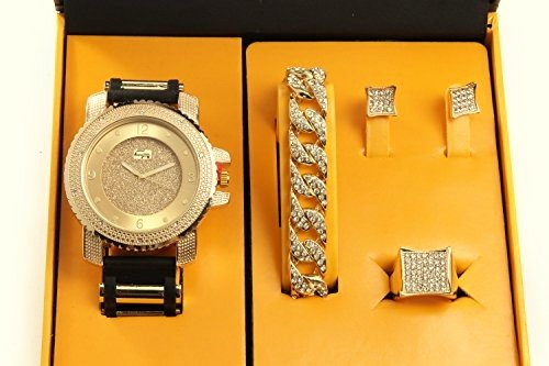 Bling-ed Out It's Lit! Hip Hop Watch & Jewerly Set w/Cuban Chain Bracelet, Kite Bling Earrings & Ring - GJM13 (Chain Gold Wrist Watch)