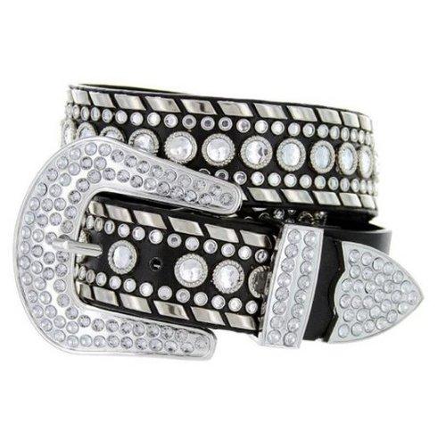 Rhinestone Cowboy Belt (Deal Fashionista Women's Western Rhinestone Chrome Studded Rodeo Cowgirl Belt L Black)
