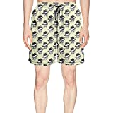 Elxie06 Smoking Skull Mens Quick Dry Classic Fit Beach Shorts with Drawstring