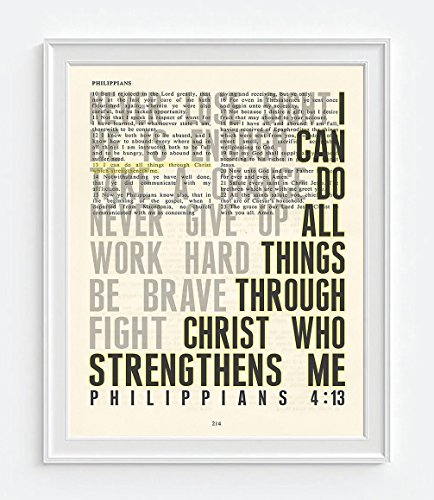 Vintage Bible Page Verse Scripture, I Can Do All Things Through Christ Who Strengthens Me, Philippians 4:13, Christian Art Print, Unframed, Christian Wall and Home Decor Poster, All Sizes