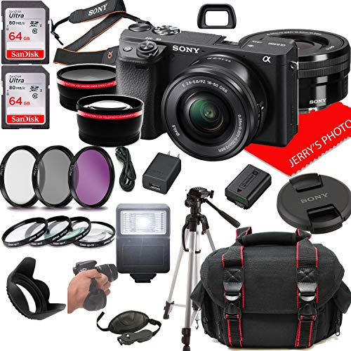 Sony Alpha a6400 Mirrorless Digital Camera with 16-50mm Lens + Case + 128GB Memory (25pc Bundle)