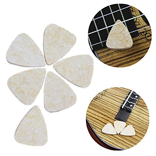 Designed Tin - Easeicon Felt Guitar Bass & UKE Picks - Pack of 6 Felt Plectrums for Hawaii Ukulele (Baritone Tenor Concert Soprano) with Designed Pick Tin Box (Beige)