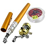 uxcell® Gold Tone Pen Shape 7 Sections Telescopic Pocket Fishing Rod
