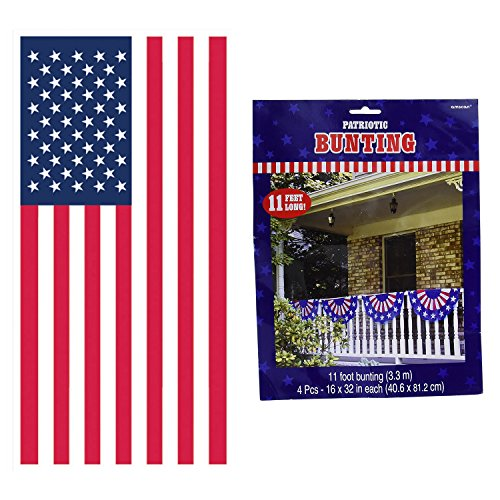 Amscan Stars & Stripes Bunting Bundled with Beistle American Flag Door Cover (Door American Flag Cover)
