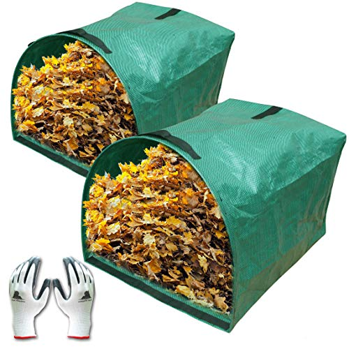- Gardzen 2-Pack Large Yard Dustpan-Type Garden Bag for Collecting Leaves - Reuseable Heavy Duty Gardening Bags, Lawn Pool Garden Leaf Waste Bag - 53 Gallon Per Bag, Come with Gloves