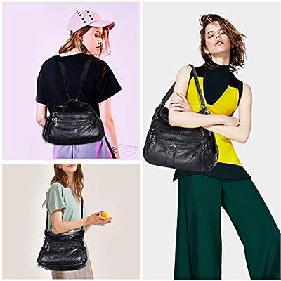 Angelkiss Women's Multifunctional Shoulder Hobo Bag Soft Leather Messenger Crossbody Purse Satchels Handbags with Zipper