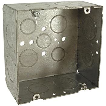 Hubbell-Raco 8265 2-1/8-Inch Deep, 3/4-Inch and 1-Inch Side Knockouts Welded 4-11/16-Inch Square Box