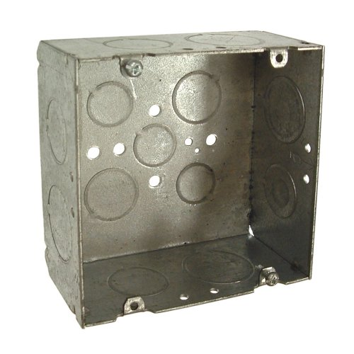 Welded Box - Hubbell-Raco 8265 2-1/8-Inch Deep, 3/4-Inch and 1-Inch Side Knockouts Welded 4-11/16-Inch Square Box