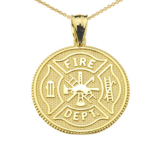 Firefighter Maltese Cross 14k Yellow Gold with Prayer Blessing Pendant Necklace, 20