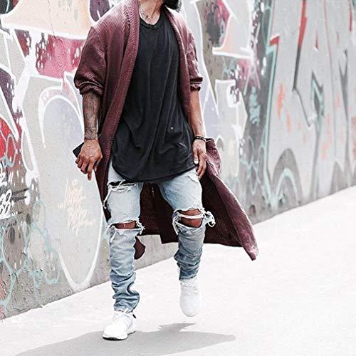 Blu Nero Pantaloni Slim Il Chiaro Semplice Alla 40 Moda Per 27 Tempo Da Jeans Uomo Fit Libero Strappati Stile tywZR6ARaq