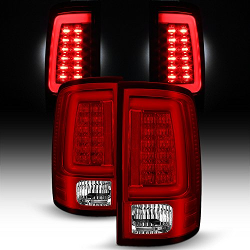 For [C-Shape LED Light Lube] 2009-2018 Dodge Ram Pickup Truck (DS/DJ/D2) v2 Red Clear Tail Lights Rear Brake Lamps -
