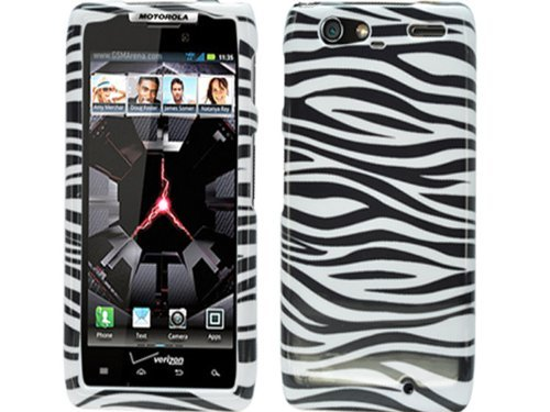 (Zebra White Black Crystal Hard Skin Case Faceplate Cover for Motorola Droid Razr Maxx XT913 XT916 Razor Max)