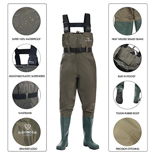 Make sure to wade carefully through the water. FISHINGSIR Chest Fishing Waders Hunting Bootfoot with Wading Belt Waterproof Insulated Breathable Nylon and PVC Cleated Wading Boots for Men Women