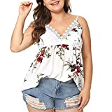 Vickyleb Sexy Vest for Women Plus Size Summer Casual Printing Shirt Sleeveless Shirts Lace V-Neck Top Casual T-Shirt White