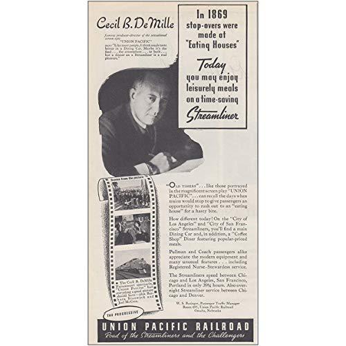 RelicPaper 1939 Union Pacific Railroad: Cecil B DeMille, Streamliner, Union Pacific Railroad Print Ad