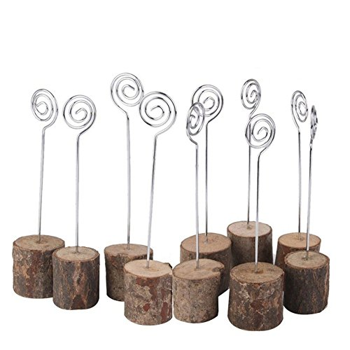Jimcoser Rustic Real Wooden Base Place Card Holders Iron Wire Picture Picks Clip Holder Stand for Wedding Table Name Number Photo Card Memo Holder Party Decorations(10 Pack)