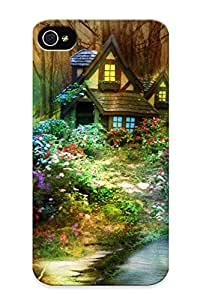 New Fashion Premium Tpu Case Cover For Iphone 4/4s - Nature Phantasmagoria Fantasy Flowers Forest Trees Flowers House Bridge Case For New Year's Day's Gift