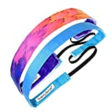 Sweaty Bands Womens Girls Headband - Non-Slip Velvet-Lined Fashion Hairband - 2-Pack Toucan Play at That Game and Rock Solid Sky Blue 5/8-Inch