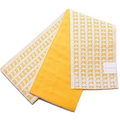 否定するスリットルーフ[KIMONOMACHI] レース 半幅帯「イエロー」麻帯 半巾帯 浴衣帯 小袋帯