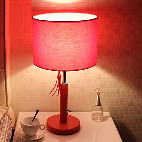 Table lamp JXXDQ LED Living Room Modern Bedroom Red Iron Creative Pull Wire - Iron Table Lamp Leather
