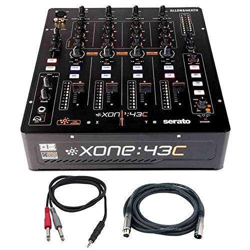 Allen & Heath High Performance 4+1 Channel DJ Mixer (XONE:43C) w/ Soundcard + Accessories Bundle Includes Premier Series XLR Male to XLR Female 16AWG Cable & 1/8'' TRS Male to Two 1/4'' TS Male Cable by Allen & Heath