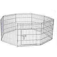 "30"" 76 x 61 cm 8 Panel Pet Playpen Portable Exercise Metal Cage Fence Dog Play Pen Rabbit"