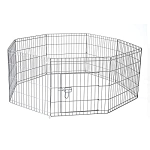 30″ 76 X 61 cm 8 Panel Pet Playpen Portable Exercise Metal Cage Fence Dog Play Pen Rabbit Click on image for further info.