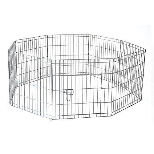 30  76 x 61 cm 8 Panel Pet Playpen Portable Exercise Metal Cage Fence Dog Play Pen Rabbit