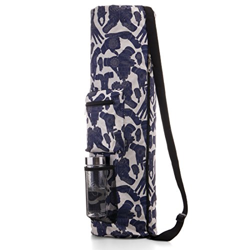 RoryTory Yoga Mat Bag w/ Adjustable Strap, Water Bottle Carrier, Inner & Outer Pockets, Heavy Duty & Machine Washable - Fits Most Yoga Mat Sizes (Tan/Blue Mudras)