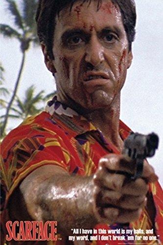 b54cb378 Scarface Al Pacino Hawaiian Shirt Gun Point Classic Gangster Action Movie  Film Poster Print 23x35: Amazon.co.uk: Kitchen & Home
