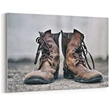 Westlake Art - Canvas Print Wall Art Art - Boot Shoe on Canvas Stretched Gallery Wrap - Modern Picture Photography Artwork - Ready to Hang - 18x12in (37x 23d)