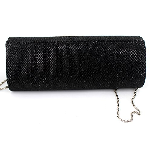with Clutch Black Purse Metal YAOSEN Flap Party Women Evening Chain Crystal Detachable Sx0Aq