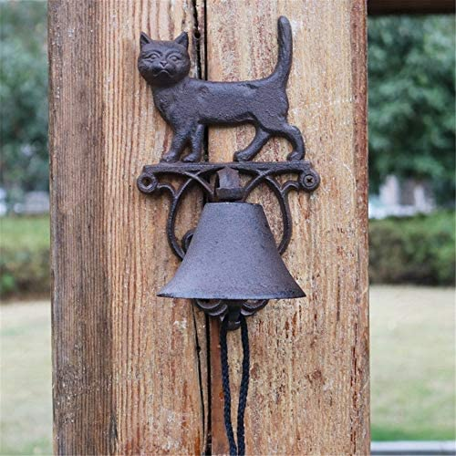 アンティークドアベル ヴィンテージ鋳鉄猫の装飾やウォールブラケット素朴なドアのベルガーデンホームウォールデコレーションで呼び鈴をハンギング 鋳鉄の装飾的なドアベル (Color : Brass, Size : 24X14X14CM)