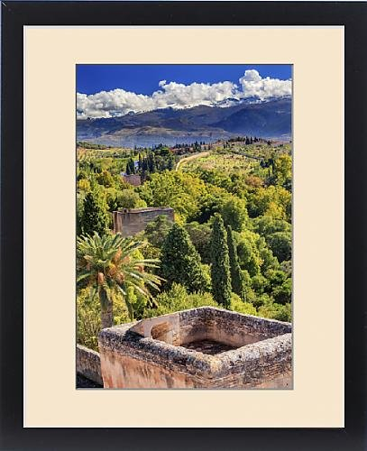 Framed Print of Alhambra Castle Tower Cityscape Churches Granada Andalusia Spain by Fine Art Storehouse