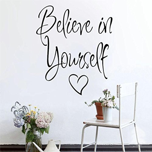 YJYDADA Wall Stickers,Believe In Yourself Removable Art Vinyl Mural Home Room Decor Wall Stickers ()