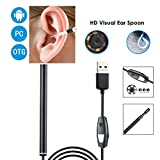 USB Ear Endoscope, 3 in 1 USB Borescope Inspection Earwax Remover Waterproof HD Camera Visual Earpick Cleaning Tool with 6 Adjustable LED for Android, Type-c, PC,OTG,1.5M
