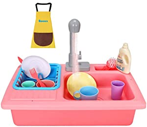 Eoncore Wash-up Kitchen Sink Toy with Running Water Electric Dishwasher Pretend Role Play Kitchen Set for Kids Girls Boys with Waterproof Apron (Pink)