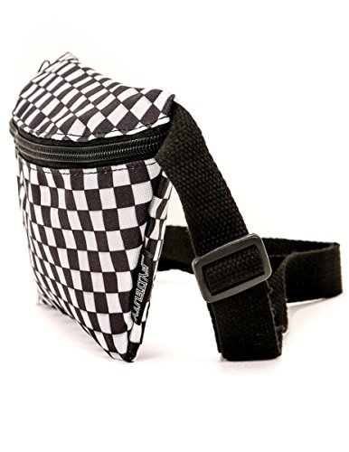 FYDELITY Ultra Slim Fanny Pack Belt Bag - Stylish Checkered Festival INDY Black & White | For Fashion Accessories/Small Travel Waist Pouch/Cute Hip Sack/Checkerboard Bum-bag/Belly/Men/Women/Boy/Girl
