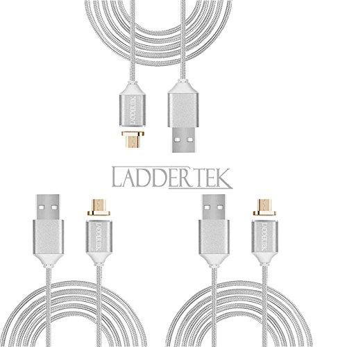 laddertek 3pcs lot wholesale[Ver 2.0] 3Ft/1m Micro USB Magnetic Cable reversible charger Nylon braided Data Sync for Samsung Huawei Xiaomi OPPO HTC Google Blackberry(silver) from laddertek