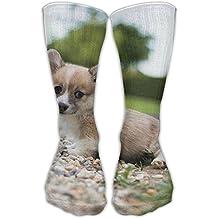 Jie Shikang Unisex Corgi Pembroke High Compression Socks Soccer Knee High Athletic Long Socks Stockings Fit For Boys And Girls
