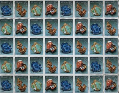 Minerals Full Sheet of 40 x 29 cent US Postage Stamp Scot #2700-03 ()