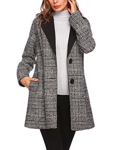 Zeela Women's Single Breasted Long Coat Wool Blended Plaid Winter Coat