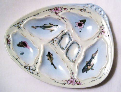 Limoges Fish - Fish Shell Floral Flowers Porcelain Oyster Plate Gold Accent