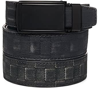 "SlideBelts Men's Leather Belt without Holes - Matte Black Buckle / Checkered Leather (Trim-to-fit: Up to 48"" Waist)"
