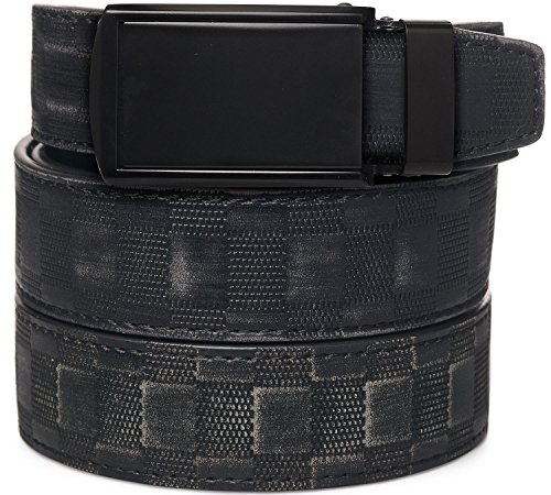 [SlideBelts Men's Animal-Friendly Leather Belt without Holes - Matte Black Buckle / Checkered Leather (Trim-to-fit: Up to 48